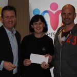 Lisa and Darrell from the Front skate park receiving their cheque.